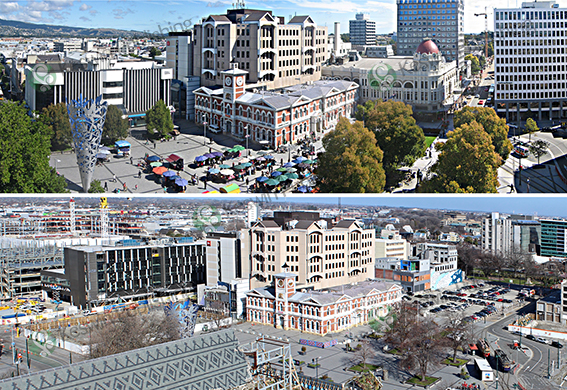 Christchurch's Cathedral Square Then and Now